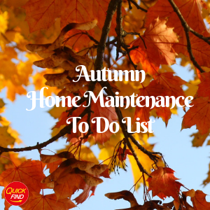 Autumn Home Maintenance To Do List West Midlands on a background of leaves