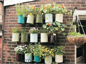 recycled cans flower pots