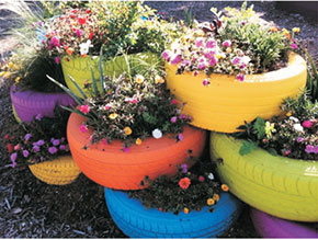 painted tyres flower beds