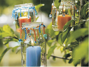 Garden Party ideas, jar candle holders
