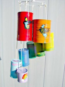 DIY Wind Chime made from cans for garden party