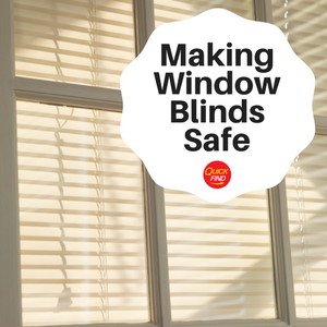 Window blind with pull chord safety feature attached, Quick Find guie to making window blinds safe
