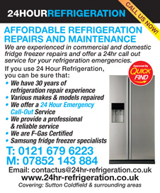 24 Hour Refrigeration are a Quick Find Directories vetted and approved local business specialising in affordable refrigeration repairs and maintenance in Sutton Coldfield and Birmingham