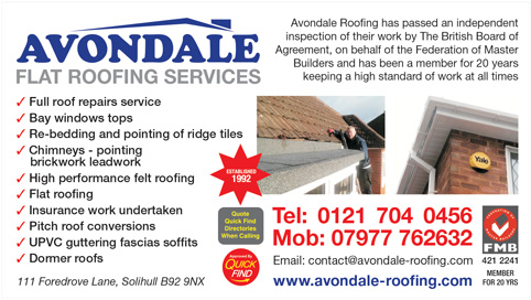 Avondale Roofing Service Birmingham Roofers Trusted Local Traders