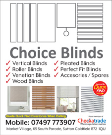 Choice Blinds Sutton Coldfield, Birmingham a Quick Find Directories Local Trusted Trader