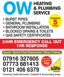 OW Heating & Plumbing Service Castle Bromwich, Birmingham a Quick Find Directories Local Trusted Plumber