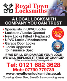 Royal Town Locksmiths are a Quick Find directories local trusted locksmith in Birmingham, covering Streetly, Great Barr and surrounding areas