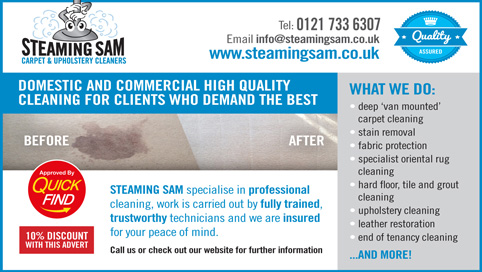 Steaming Sam Carpet & Upholstery Cleaners