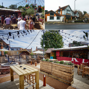 Brewhouse and kitchen Sutton Coldfield beer garden.