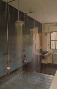 Exposed piping bathroom
