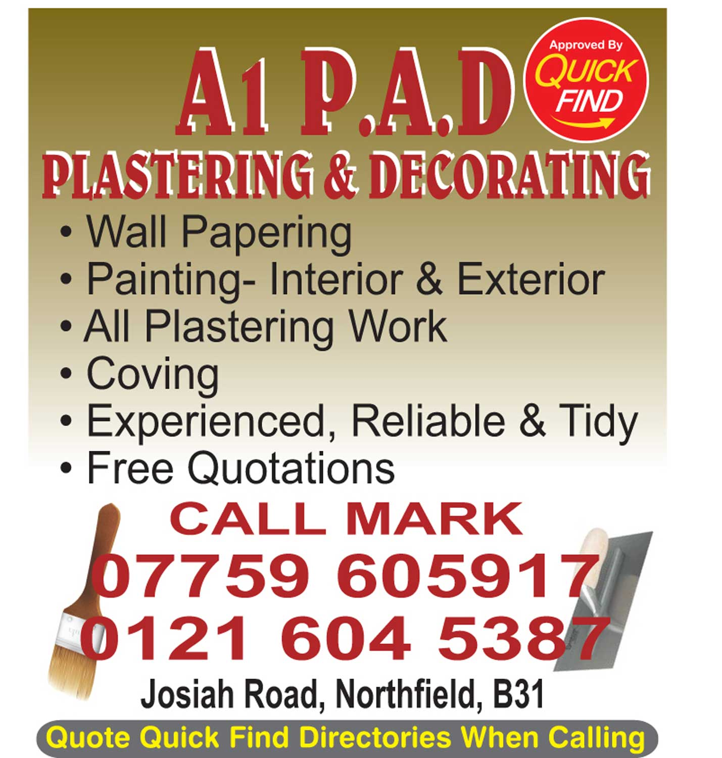 A1 PAD Plastering and Decorating